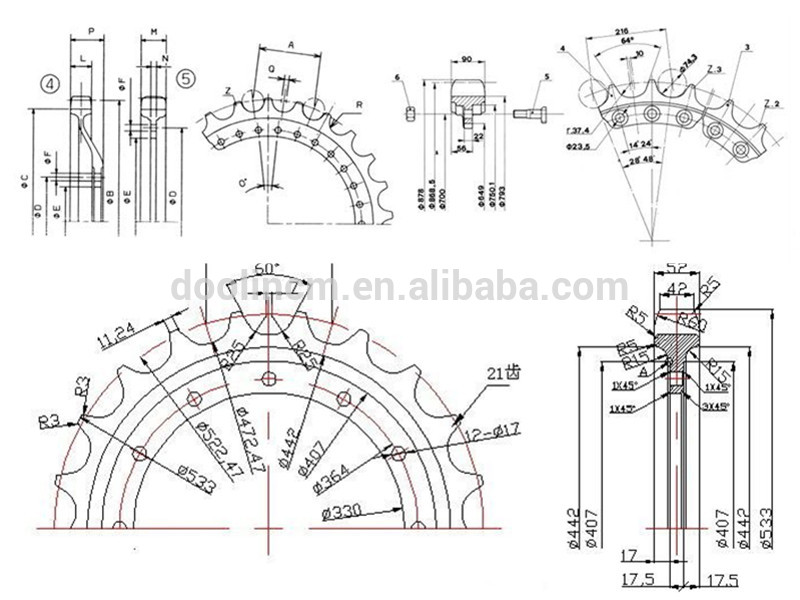 Bulldozer undercarriage spare parts Sprocket Segment D4