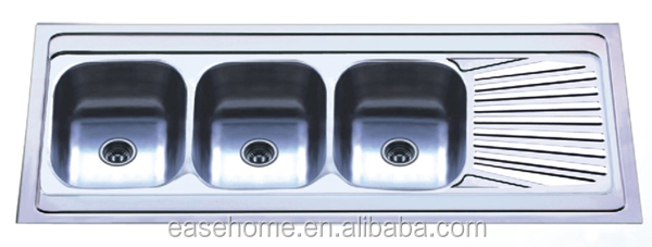 triple kitchen sink chimney without exhaust pipe with 3 bowls stainless steel buy