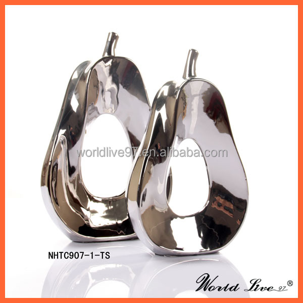 Promotion Nhtc907 1 2 Ts Silver Ceramic Pear Home Decoration