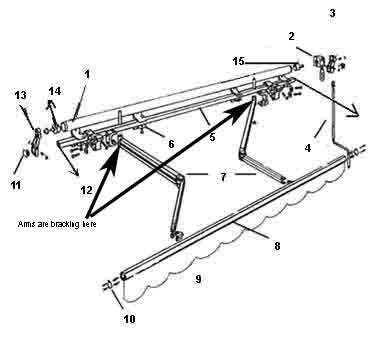 Half Cassette Retractable Balcony Awning Component (manual