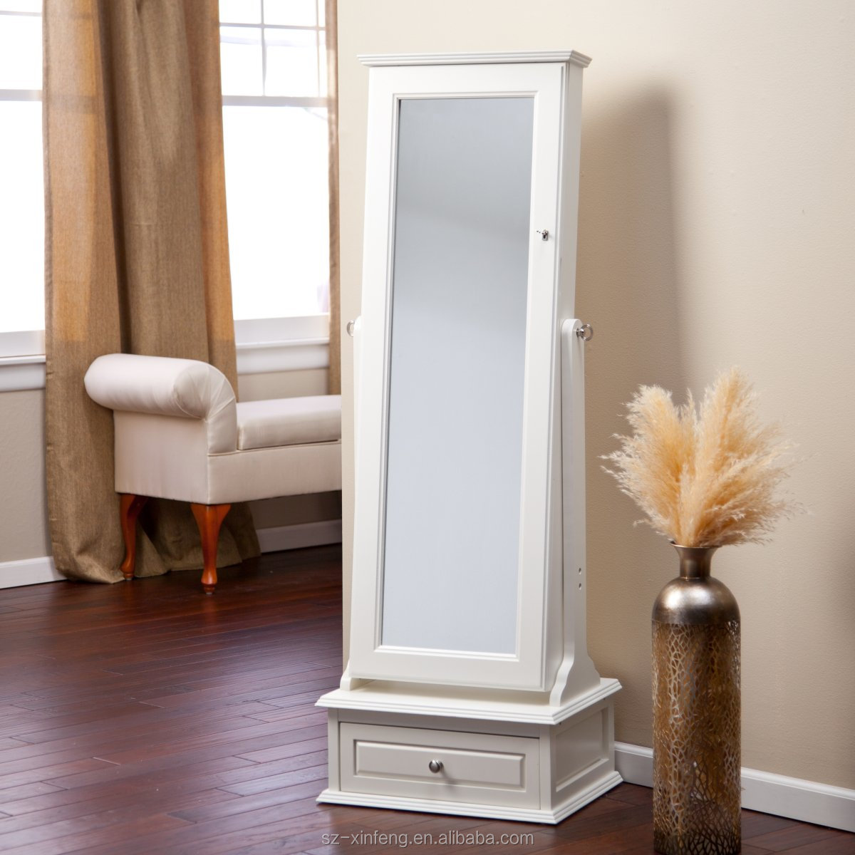Transitional Cheval Mirror Locking Jewelry Armoire With