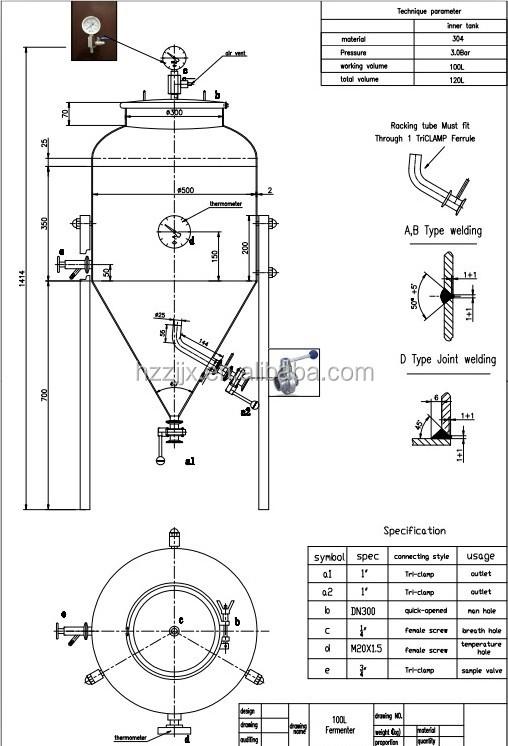 50l/100l/200l Micro/mini Fermenter Home Brew Fermentation