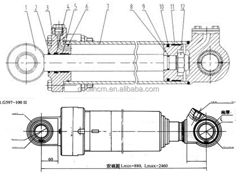 R210 Hyundai Hydraulic Excavator Arm Boom Bucket Cylinder