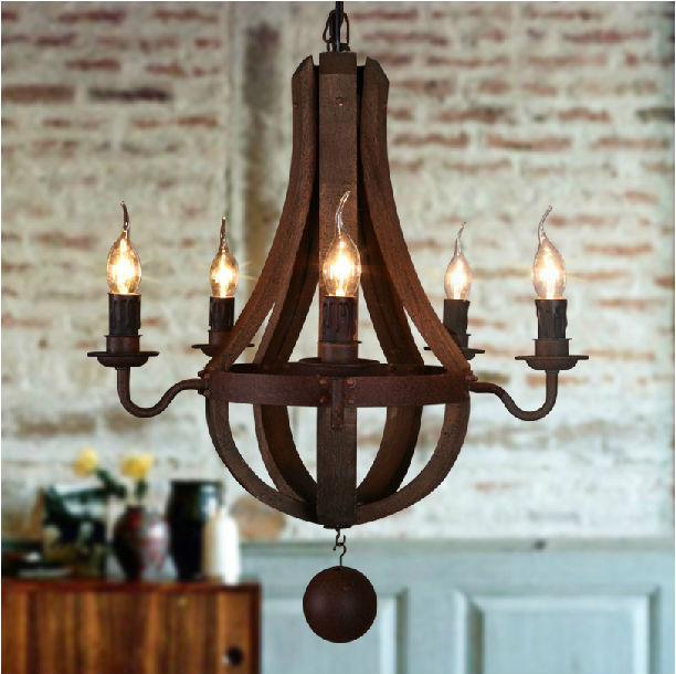Antique Wood Chandeliers Large