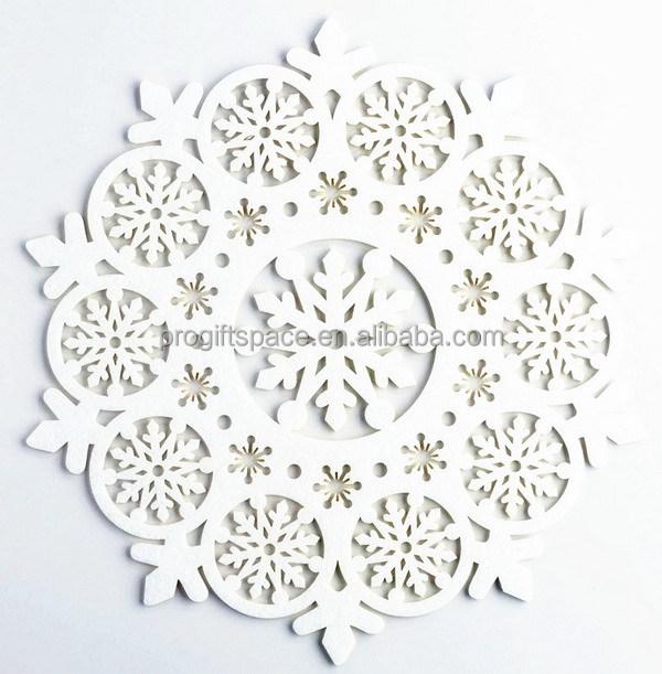 Newest Die Cut Felt Placemats Custom Christmas Snowflake