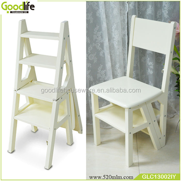 Wooden Goodlife Convertible Ladder Chair Library Step