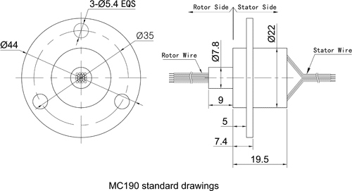 Mc190 Capsule Slip Ring With Flange Small Od Slip Ring For