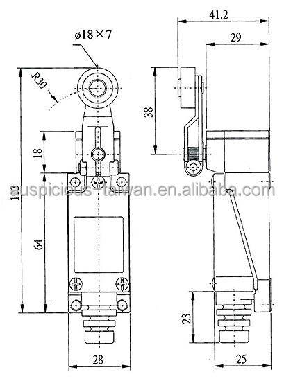 AZ-8104/8104L IP65 Mini Limit Switch Side Rotary Roller