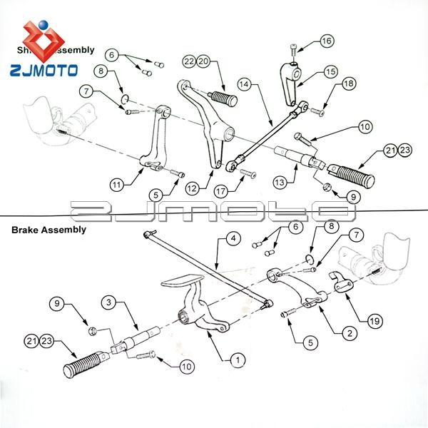 Zjmoto Motorcycle Sportster Superlow Xl 883l Brake Shift
