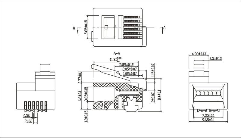 Rj11/rj12 6p6c 6p4c Modular Plug Kls Brand12-rj12c-6p