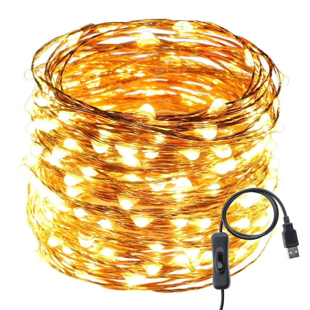 medium resolution of get quotations usb led string lights er chen tm 200 leds 66ft waterproof copper wire