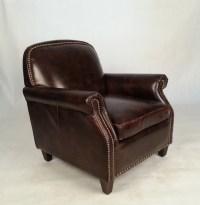 Distressed Nailhead Keaton Dark Leather Club Chair - Buy ...
