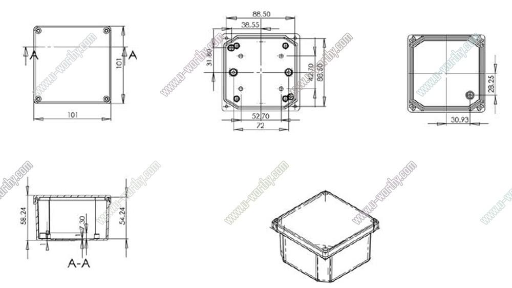 Square Aluminium Alloy Outdoor Junction Box Electrical