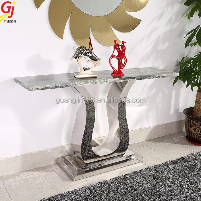 Living Room Modern Console Table And Mirror Set