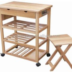 Kitchen Serving Cart Canisters For Counter Multifunctional Wooden Trolley And Foldable Chair Set With Table Board 4 Tiers