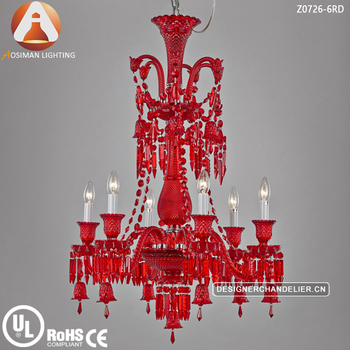 6 Light Baccarat Style Red Crystal Chandelier