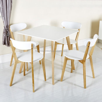 oak and white dining chairs crushed velvet chair scandinavian solid wood with mdf seat