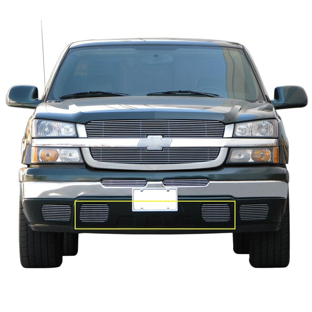 medium resolution of e autogrilles aluminum polished 4mm horizontal overlay tow hook billet grille for 03 05 chevrolet silverado 1500 03 06 chevrolet avalanche 1500 2500
