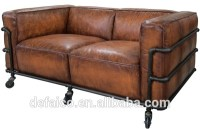 Loft Style Water Pipe Frame Living Room Leather Sofa Sets ...