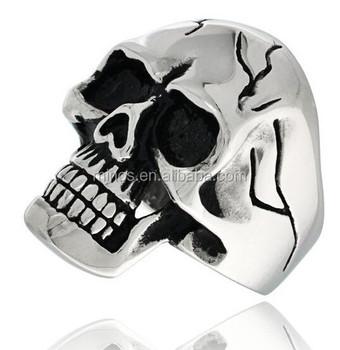 Surgical Steel Biker Skull Ring Cracks On Forehead And