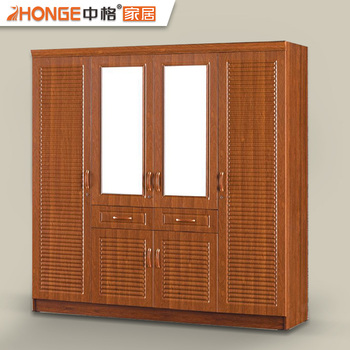 Home Furniture Pvc Finished Wood Almirah Designs 6 Door
