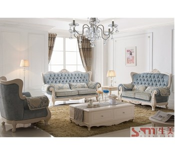 classic sofa aniline cleaner contemporary furniture simple european living bedroom wood carving sofas blue fabric