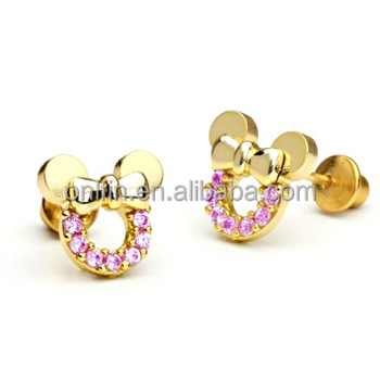 925 Sterling Silver Minnie Mouse Earring,Gold Plated