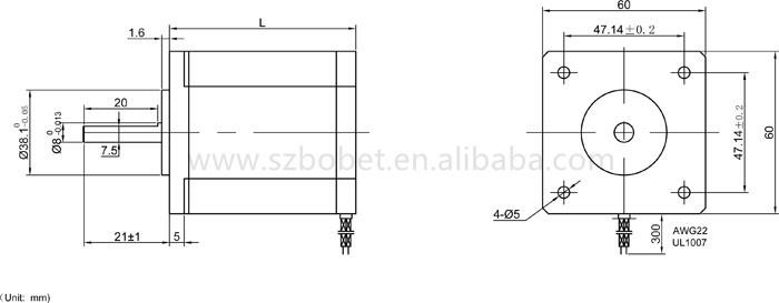4-wire 2-phase Nema 24 Hybrid Motor Cnc Stepper 1.8 Degree