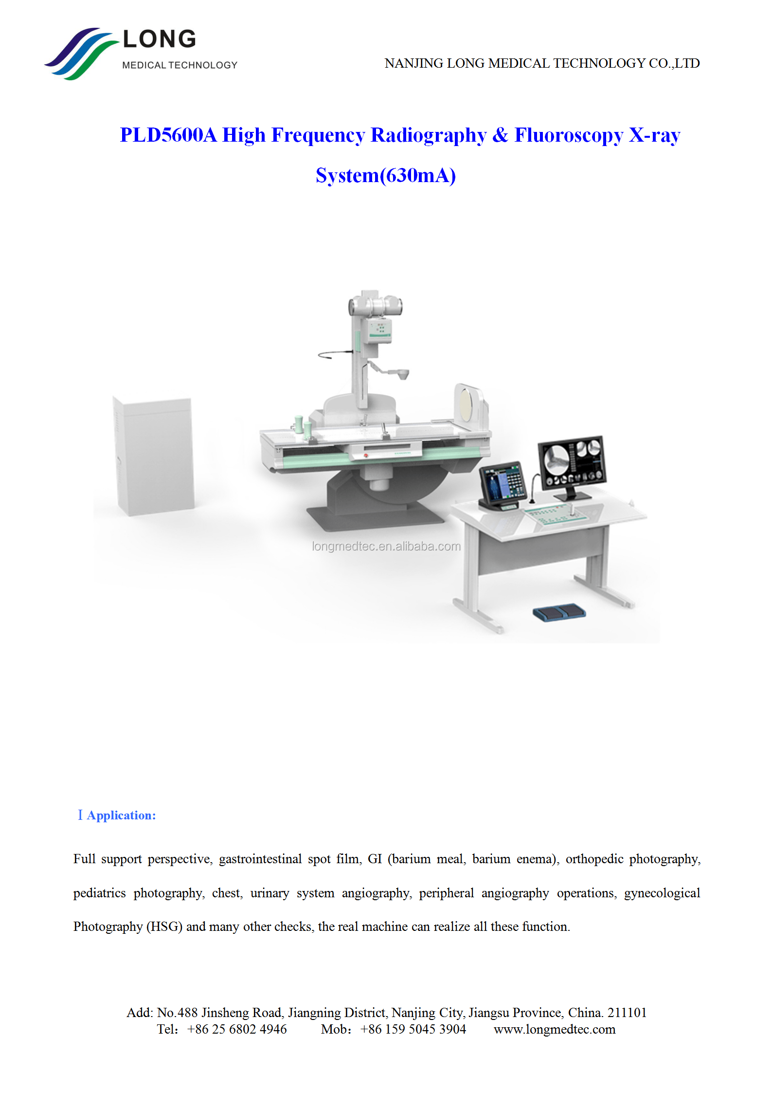 hight resolution of pld5600a high frequency radiography fluoroscopy x ray system 630ma