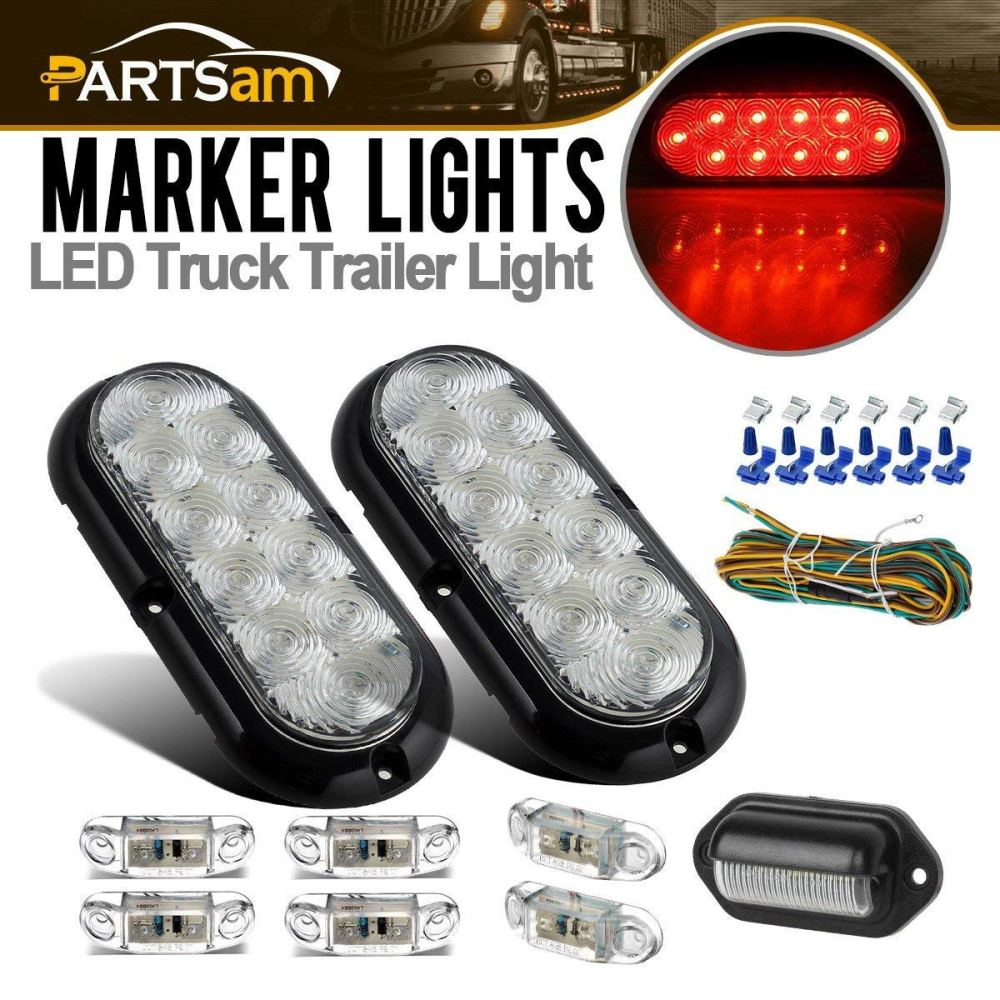 medium resolution of get quotations partsam submersible led trailer light kit 6 oval clear red 10led stop turn