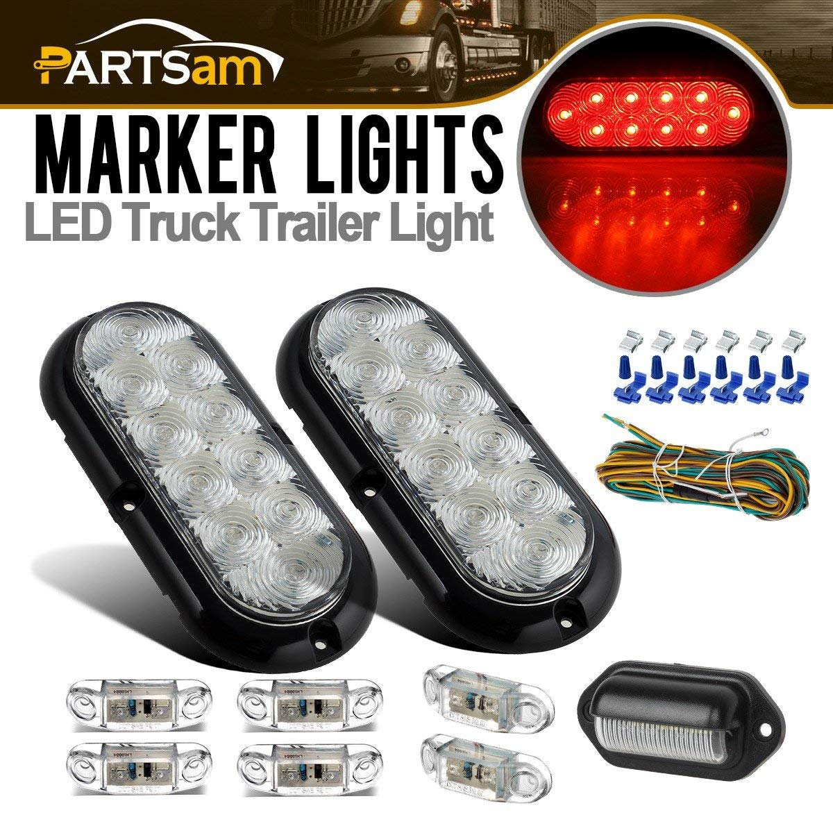 hight resolution of get quotations partsam submersible led trailer light kit 6 oval clear red 10led stop turn