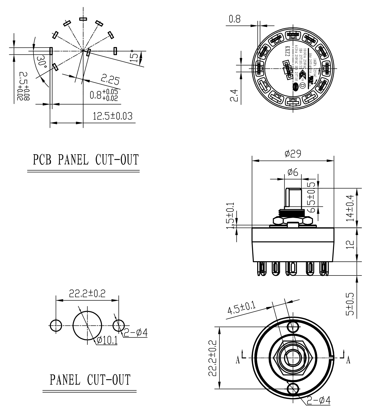 6a 125vac Rotary Switch For Pcb Terminal Elecrrical Rotary