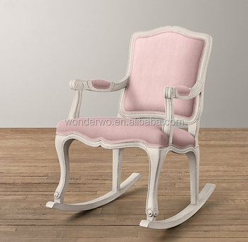 rocking chair antique styles pottery barn french style wooden pink linen upholstered baby bedroom furniture