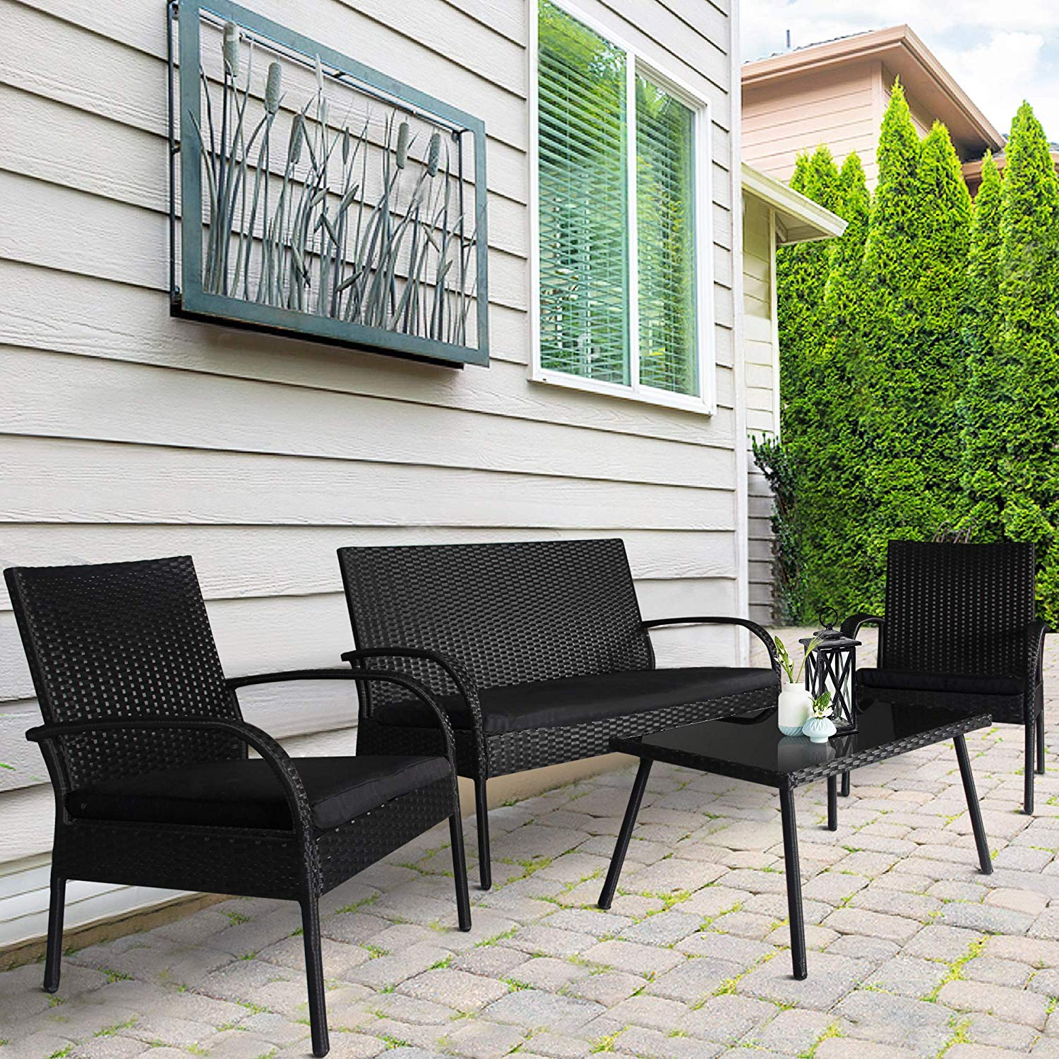 black rattan chair ice cream chairs for sale cheap singapore find deals on get quotations homevibes 4 pieces outdoor patio furniture sets garden conversation set backyard wicker sofa