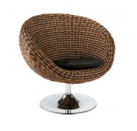 Modern Rattan Seagrass Swivel Chair With Chrome Base Brown