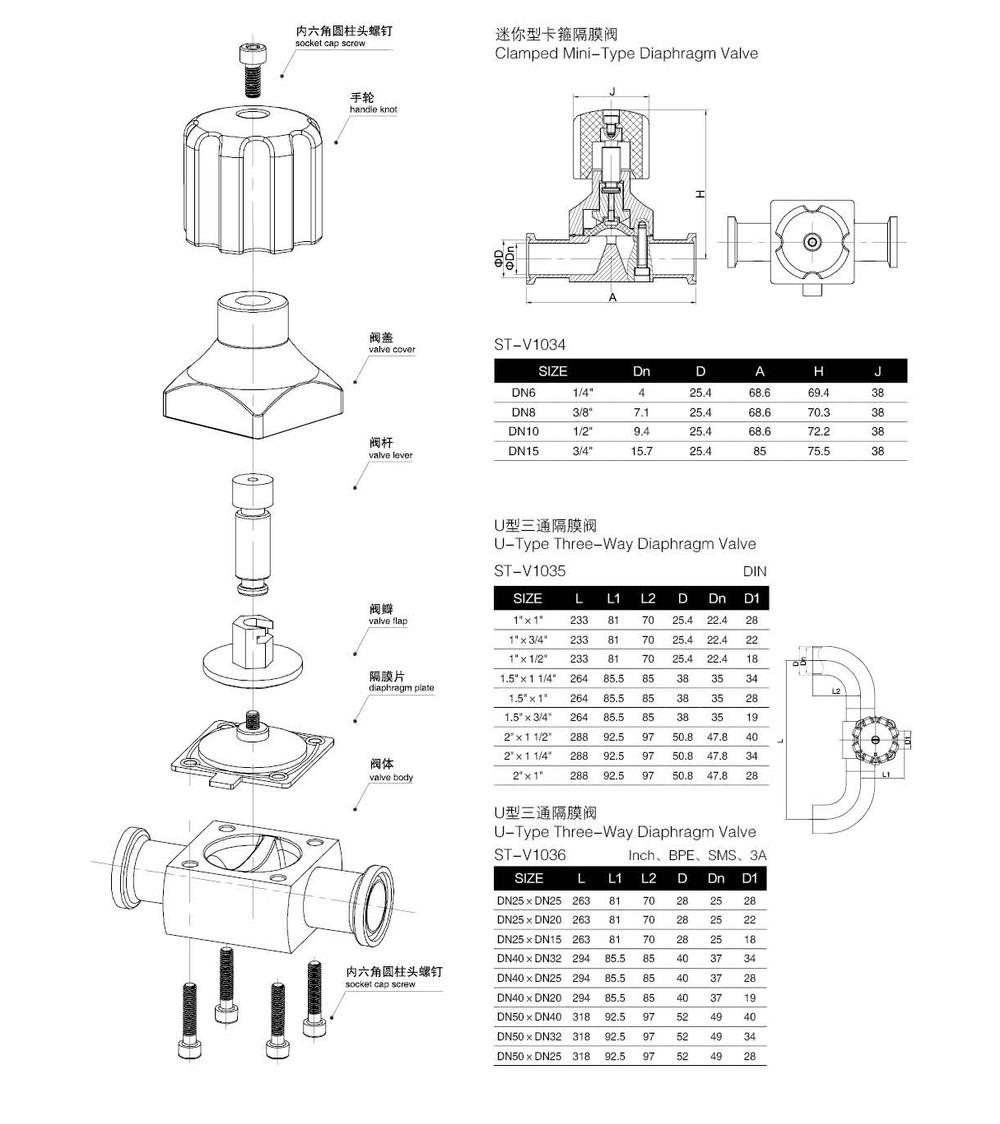 Sanitary stainless steel SS316L tri clamp diaphragm valve