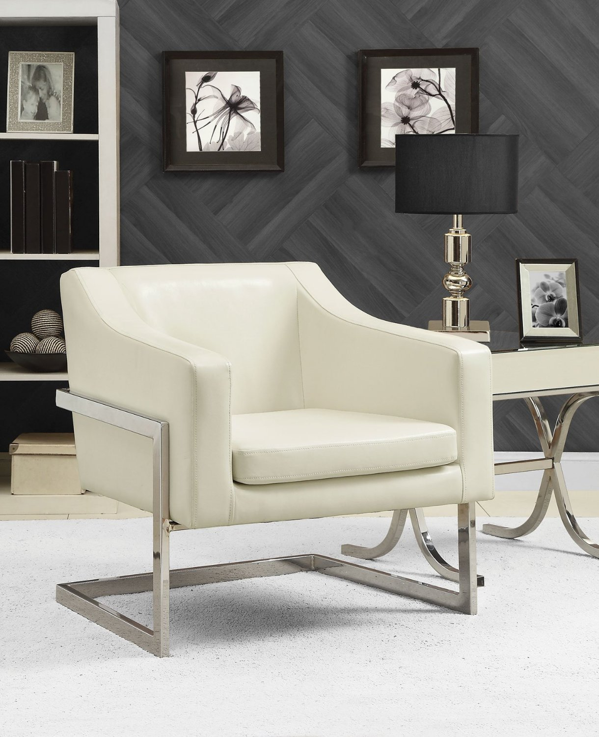 roundhill furniture wonda bonded leather accent chair with wood arms white tall upholstered dining chairs cheap find get quotations coaster contemporary faux chrome base