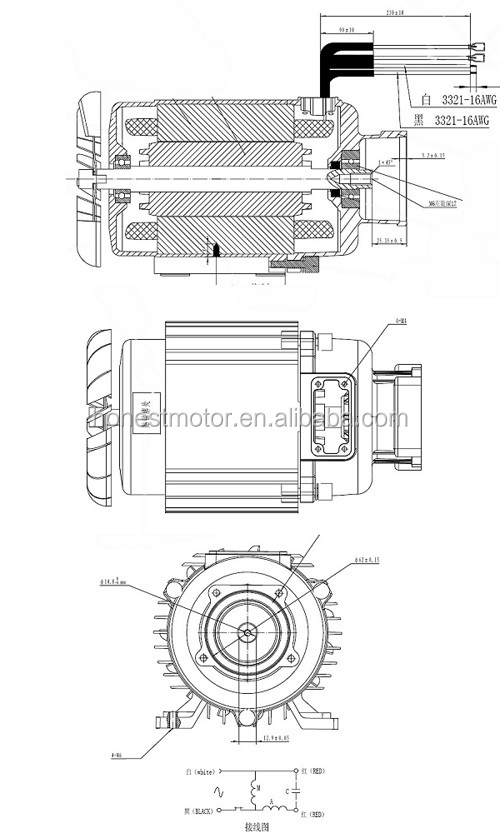 High pressure washer pump motor 1700w, View electric motor