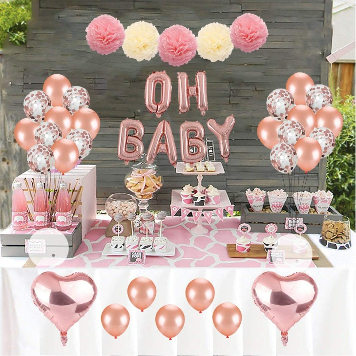 Get Quotations · Kwayi Baby Shower Decoration Set, Rose Gold Theme Baby  Shower Decoration With OH BABY Banner