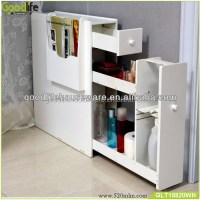 Hot Sale White Wooden Slim Storage Cabinet For Bathroom