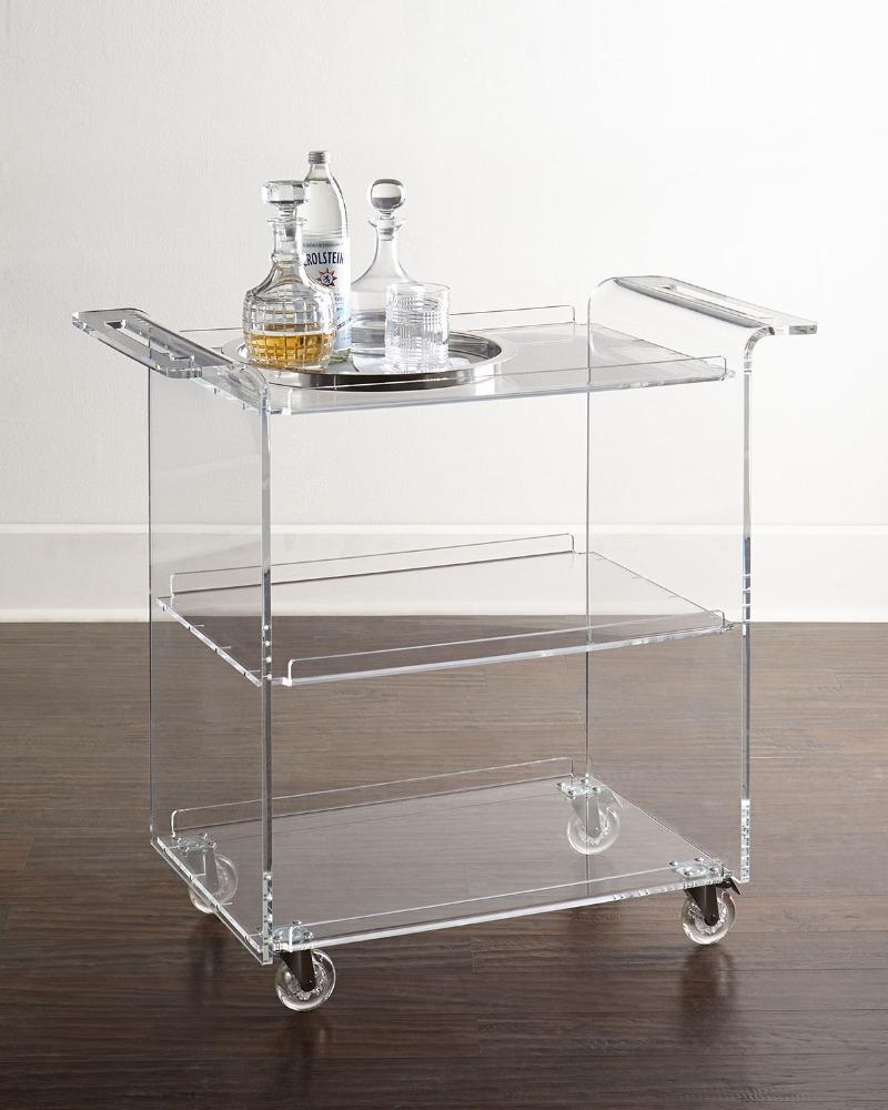 Clear Acrylic Bar Cart With 3 Shelves