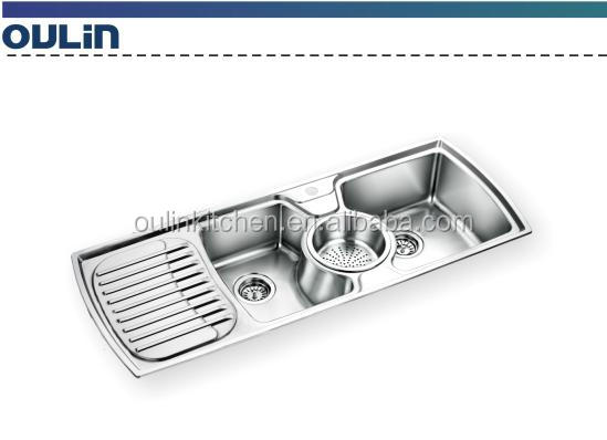 triple kitchen sink traditional cabinets pictures bowls with drain board buy stainless steel