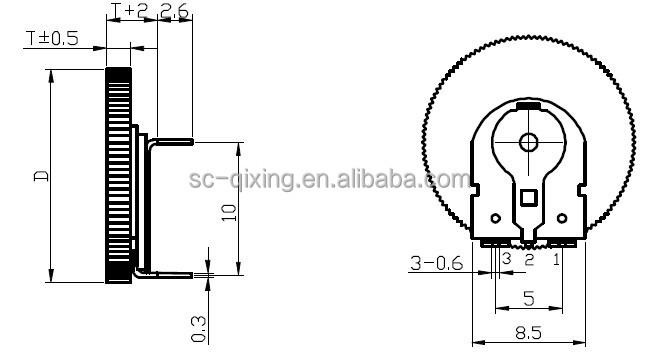 Taper B Thin Micro Rotary Potentiometer,14mm Thumbwheel