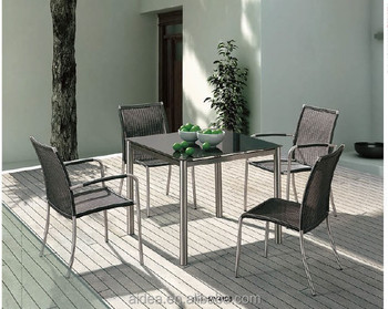 steel chair dining table padded folding chairs walmart outdoor set rattan stainless buy
