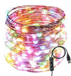 get quotations usb led string lights er chen tm 200 leds 66ft waterproof copper wire [ 1000 x 1000 Pixel ]