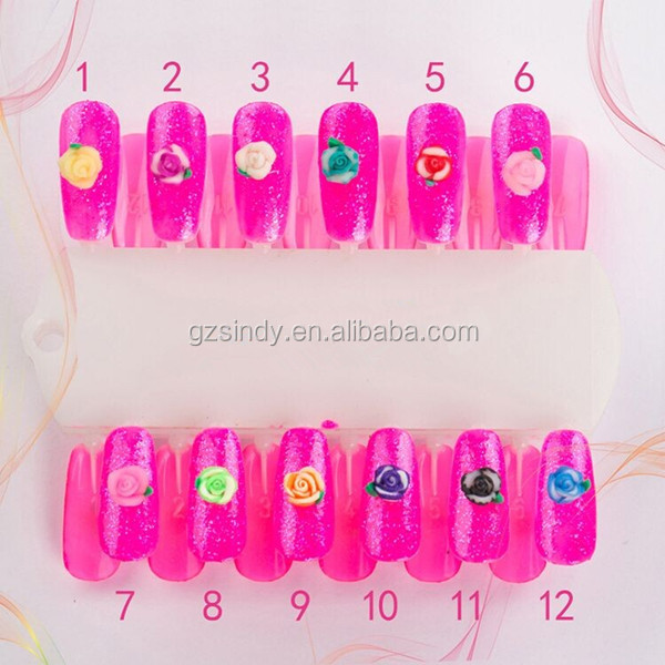 Multicolored 3d Rose Flowers Nail Art
