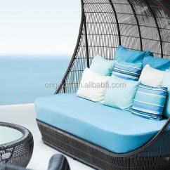 Gray Fabric Sofa Set Pit Furniture Ancient Reed Boat Design Wicker Cocoon Shaped Day Bed With ...