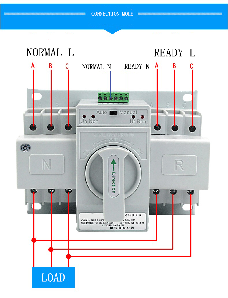 Automatic 3 Phase Changeover Switch Wiring Diagram