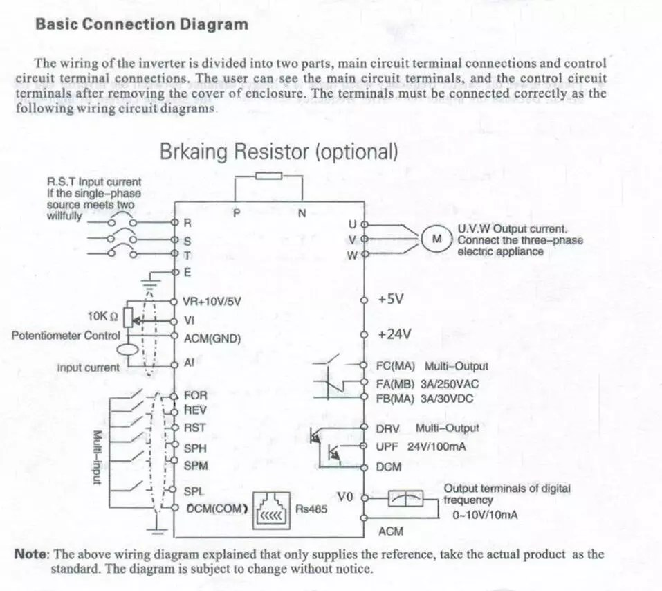 hight resolution of basic connection diagram 2hp 1 5kw 220v 7a vfd cnc speed control variable frequency drive inverter