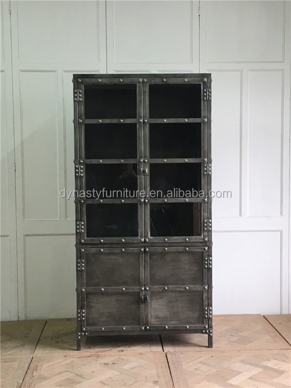 Decorative Industrial Vintage Style Metal Display Cabinet